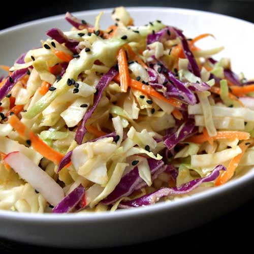 Asian Slaw Salad + Miso Ginger Dressing