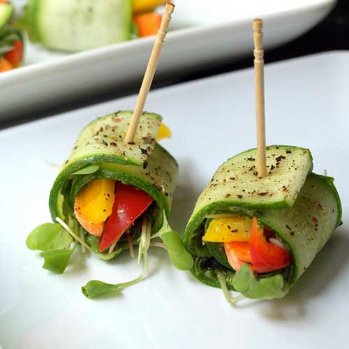 Raw Zucchini Wraps with Kale Pesto