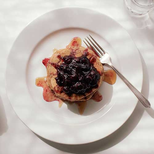 Spelt & Oat Pancakes + Blueberry Compote