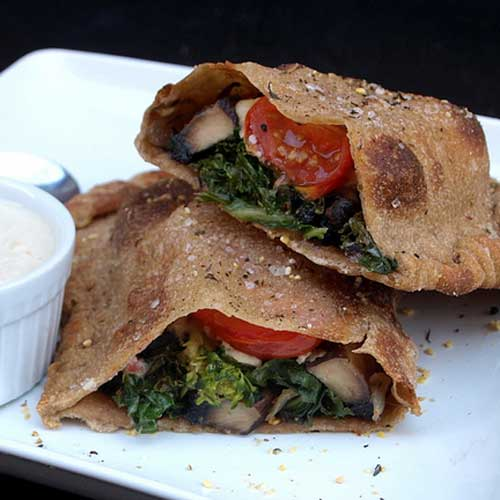 Portobello & Kale Calzone with Garlic Miso Cream