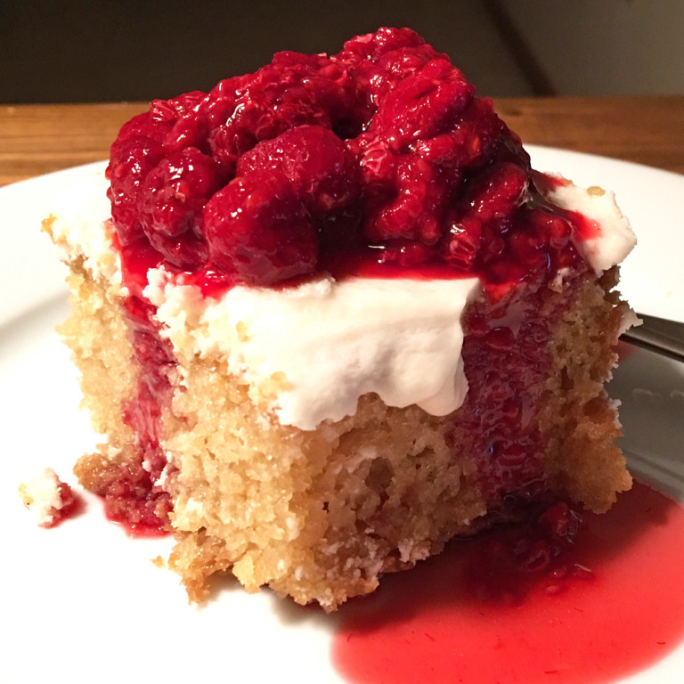 Vanilla Cake and Frosting with Raspberry Topping