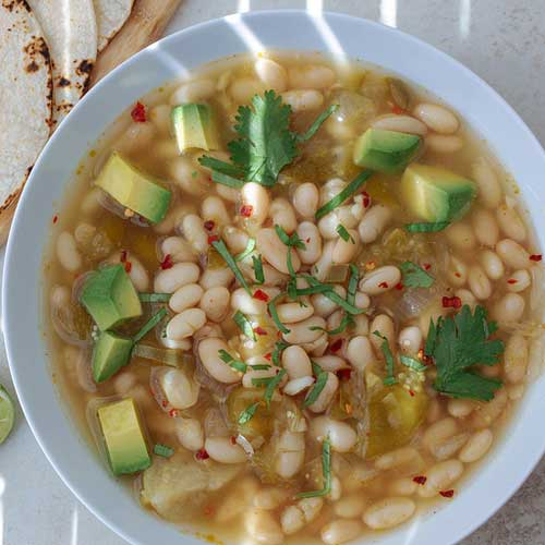 White Bean + Tomatillo Soup